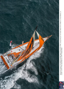Sailing aerial images of the IMOCA boat PRB, skipper Vincent Riou (FRA), during training for the Vendee Globe 2016, off Belle Ile in South Brittany, on october 13, 2016 - Photo Jean-Marie Liot / DPPI / Vendee Globe